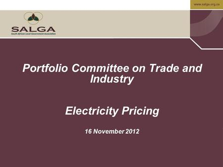 Www.salga.org.za Portfolio Committee on Trade and Industry Electricity Pricing 16 November 2012.