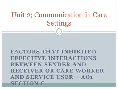Unit 2; Communication in Care Settings