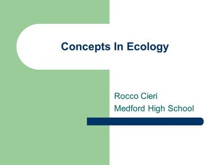 Concepts In Ecology Rocco Cieri Medford High School.