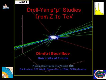 Drell-Yan μ + μ - Studies from Z to TeV Dimitri Bourilkov University of Florida Florida Contribution to Physics TDR SM Review, CPT Week, November 1, 2004,