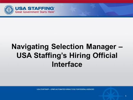 Navigating Selection Manager –