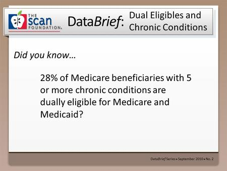 DataBrief: Did you know… DataBrief Series ● September 2010 ● No. 2 Dual Eligibles and Chronic Conditions 28% of Medicare beneficiaries with 5 or more chronic.