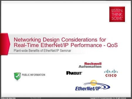 Copyright © 2013 Rockwell Automation, Inc. All rights reserved. PUBLIC INFORMATION Rev 5058-CO900E Networking Design Considerations for Real-Time EtherNet/IP.