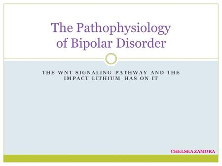 THE WNT SIGNALING PATHWAY AND THE IMPACT LITHIUM HAS ON IT The Pathophysiology of Bipolar Disorder CHELSEA ZAMORA.