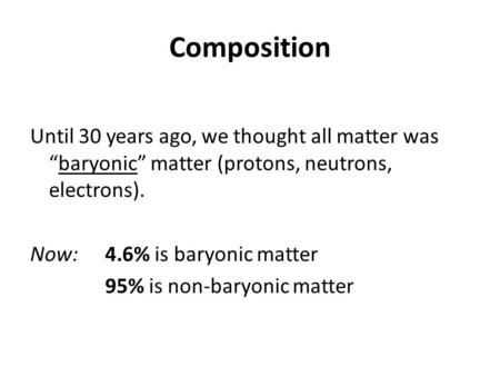 "Composition Until 30 years ago, we thought all matter was ""baryonic"" matter (protons, neutrons, electrons). Now: 4.6% is baryonic matter 95% is non-baryonic."