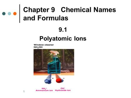 1 9.1 Polyatomic Ions Chapter 9 Chemical Names and Formulas.