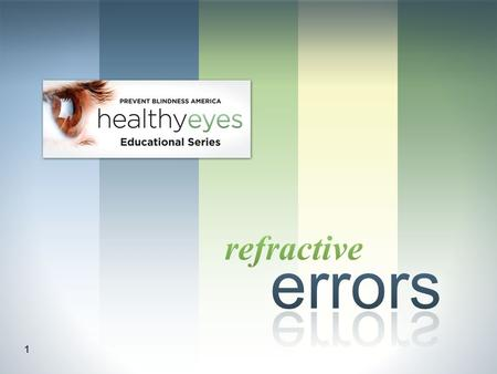1. 2 Understand refractive errors visual acuity and how they are corrected. objective: