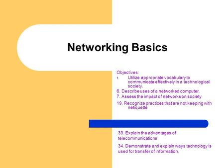 Networking Basics Objectives: 1. Utilize appropriate vocabulary to communicate effectively in a technological society. 6. Describe uses of a networked.