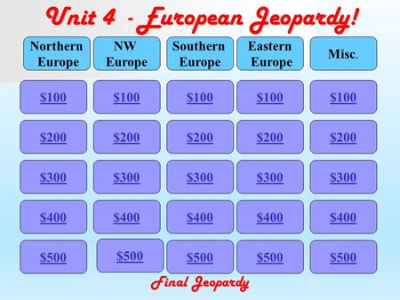 Unit 4 - European Jeopardy! $100 Northern Europe NW Europe Southern Europe Eastern Europe Misc. $200 $300 $400 $500 $400 $300 $200 $100 $500 $400 $300.