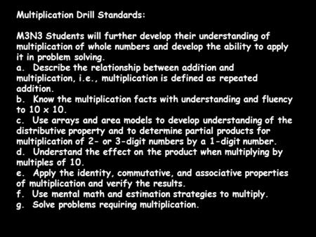 Multiplication Drill Standards: M3N3 Students will further develop their understanding of multiplication of whole numbers and develop the ability to apply.