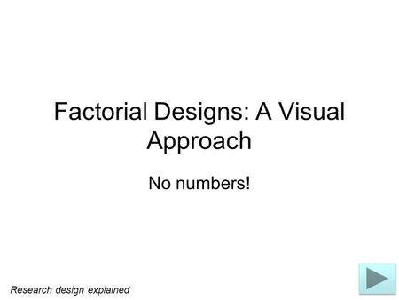 Factorial Designs: A Visual Approach No numbers! Research design explained.