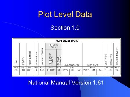 Plot Level Data National Manual Version 1.61 Section 1.0.