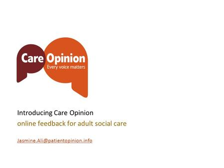 Introducing Care Opinion online feedback for adult social care