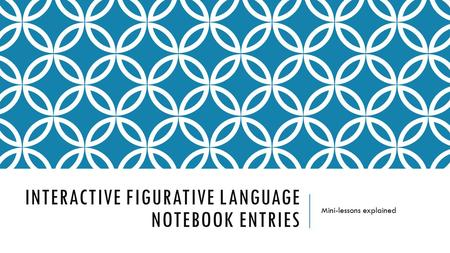 INTERACTIVE FIGURATIVE LANGUAGE NOTEBOOK ENTRIES Mini-lessons explained.