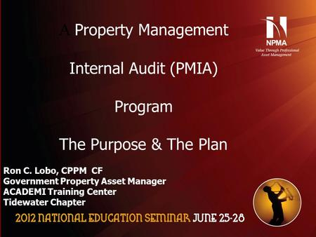 Please use the following two slides as a template for your presentation at NES. A Property Management Internal Audit (PMIA) Program The Purpose & The Plan.