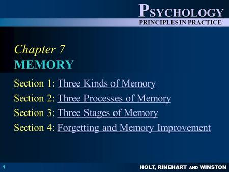 HOLT, RINEHART AND WINSTON P SYCHOLOGY PRINCIPLES IN PRACTICE 1 Chapter 7 MEMORY Section 1: Three Kinds of MemoryThree Kinds of Memory Section 2: Three.