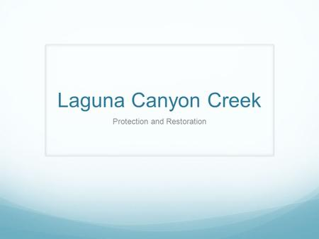 Laguna Canyon Creek Protection and Restoration. Major Watercourse Laguna Canyon Creek is a major watercourse. The City identifies it as that and treats.
