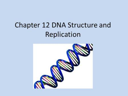 Chapter 12 DNA Structure and Replication. Transformation Changes one form of bacteria into a different or some cases toxic form of bacteria EX: Griffith's.