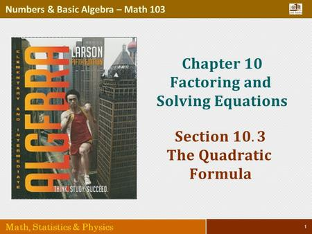 1 Numbers & Basic Algebra – Math 103 Math, Statistics & Physics.