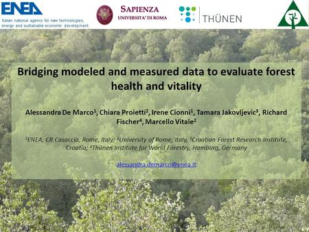 Bridging modeled and measured data to evaluate forest health and vitality Alessandra De Marco 1, Chiara Proietti 2, Irene Cionni 1, Tamara Jakovljevic.