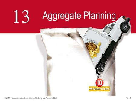 13 - 1© 2011 Pearson Education, Inc. publishing as Prentice Hall 13 Aggregate Planning.
