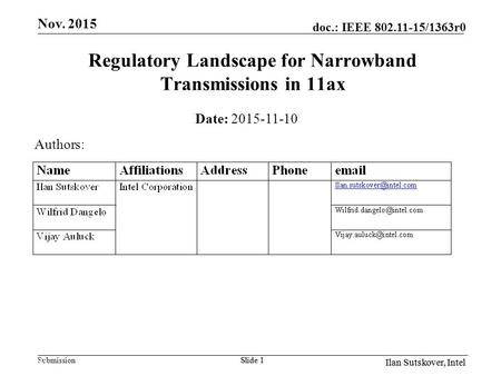 Submission Il doc.: IEEE 802.11-15/1363r0 Ilan Sutskover, Intel Slide 1 Regulatory Landscape for Narrowband Transmissions in 11ax Date: 2015-11-10 Authors: