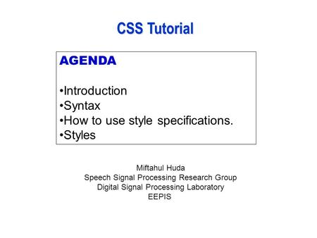 AGENDA Introduction Syntax How to use style specifications. Styles CSS Tutorial Miftahul Huda Speech Signal Processing Research Group Digital Signal Processing.