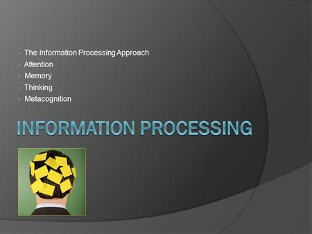  The Information Processing Approach  Attention  Memory  Thinking  Metacognition.