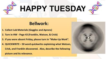 HAPPY TUESDAY Bellwork: 1.Collect Lab Materials (Goggles and Aprons) 2.Turn in HW - Page 43 (Franklin, Watson, & Crick) 3.If you were absent Friday, please.