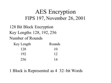 AES Encryption FIPS 197, November 26, 2001 128 Bit Block Encryption Key Lengths 128, 192, 256 Number of Rounds Key Length Rounds 12810 19212 25614 1 Block.