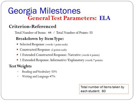 Georgia Milestones General Test Parameters: ELA Criterion-Referenced Total Number of Items: 44 / Total Number of Points: 55 Breakdown by Item Type: Selected.