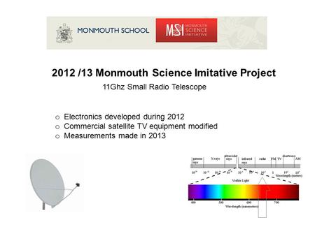 2012 /13 Monmouth Science Imitative Project