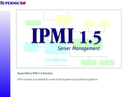 Super Micro IPMI 1.5 Solution IPMI solution is available for most of the Supermicro Dual Xeon platform.