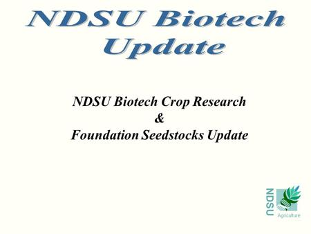 NDSU Agriculture NDSU Biotech Crop Research & Foundation Seedstocks Update.