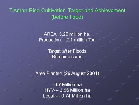 T.Aman Rice Cultivation Target and Achievement (before flood) AREA: 5.25 million ha. Production: 12.1 million Ton Target after Floods Remains same Area.