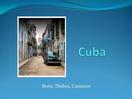 Boris, Thebes, Cameron. Background Information Capital (and largest city): Havana Official Language: Spanish Ethnic Groups: 65.05% European, 10.08% African,