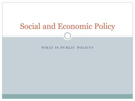 WHAT IS PUBLIC POLICY? Social and Economic Policy.
