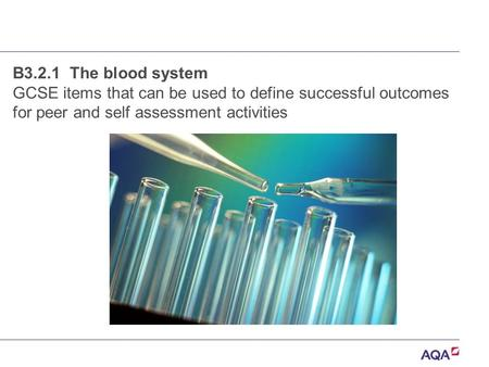 B3.2.1 The blood system GCSE items that can be used to define successful outcomes for peer and self assessment activities.