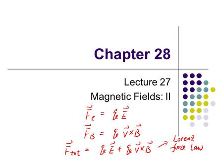 Chapter 28 Lecture 27 Magnetic Fields: II. Charged Particles Moving in Electric and Magnetic Fields In many applications, charged particles will move.