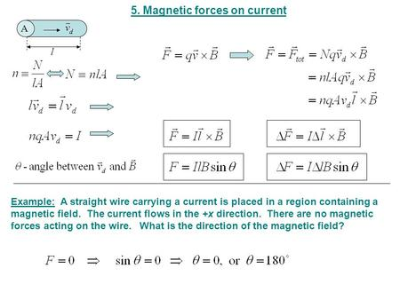 5. Magnetic forces on current