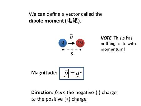-q+q s We can define a vector called the dipole moment ( 电矩 ). Magnitude: Direction: from the negative (-) charge to the positive (+) charge. NOTE: This.