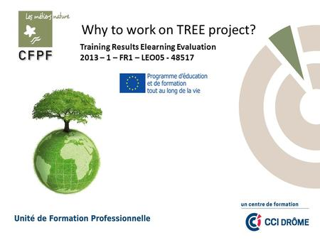 Why to work on TREE project? Training Results Elearning Evaluation 2013 – 1 – FR1 – LEO05 - 48517.