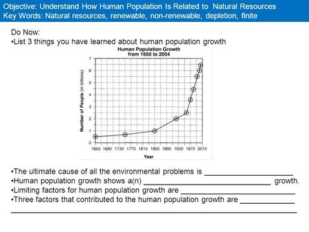 Objective: Understand How Human Population Is Related to Natural Resources Key Words: Natural resources, renewable, non-renewable, depletion, finite Do.