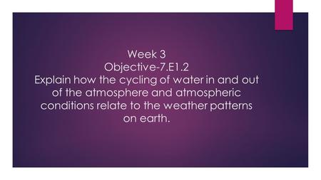Week 3 Objective-7.E1.2 Explain how the cycling of water in and out of the atmosphere and atmospheric conditions relate to the weather patterns on earth.