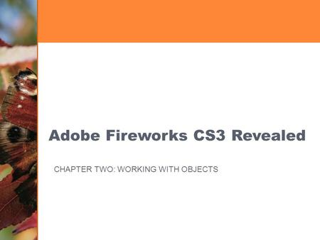 Adobe Fireworks CS3 Revealed CHAPTER TWO: WORKING WITH OBJECTS.