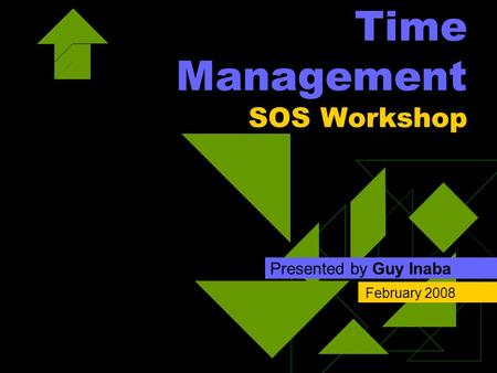 Time Management SOS Workshop Presented by Guy Inaba February 2008.