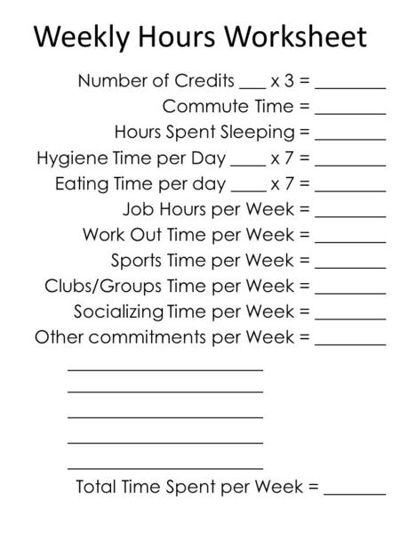 Weekly Hours Worksheet Number of Credits ___ x 3 = ________ Commute Time = ________ Hours Spent Sleeping = ________ Hygiene Time per Day ____ x 7 = ________.