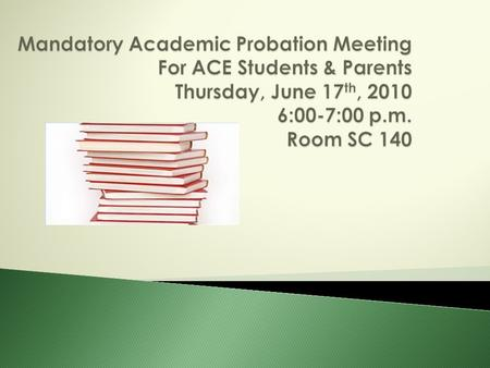  Academic probation is the result of not completing or passing a course in the ACE Program.