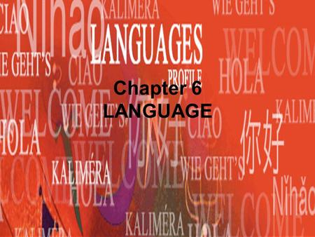 Chapter 6 LANGUAGE. Fact of the day Fastest growing culture/language is….. Hispanic/Spanish.