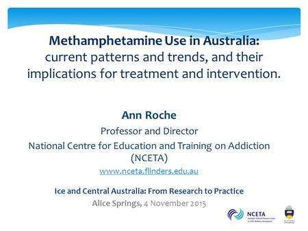 Methamphetamine Use in Australia: current patterns and trends, and their implications for treatment and intervention. methamphetamine Ann Roche Professor.